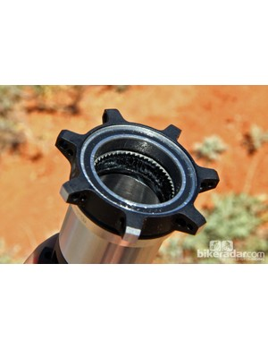 The Bontrager Rapid Drive freehub mechanism features a 54-tooth ratchet ring for a snappy 6.67-degree engagement speed