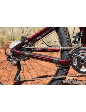Asymmetrical chain stays are mated to carbon fiber seat stays on the new Trek Fuel EX 29 9.8