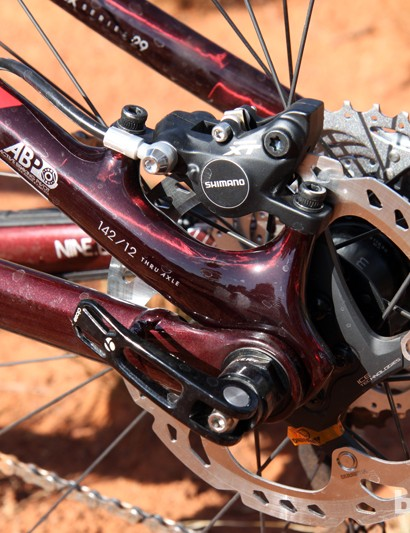 Rear pivots are located concentrically around the dropouts, which Trek says minimizes the effects of braking on suspension performance. Post mount rear brake tabs are molded directly into the seat stays