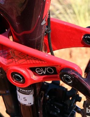 The carbon fiber seat stays attach to Trek's lightweight magnesium Evo rocker link