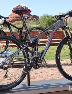 The Trek Fuel EX 29 8 bumps down from the 9 with a Shimano SLX/XT group and Bontrager Duster wheels. Suggested retail price is US$2,799
