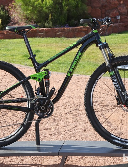 The US$2,499 Trek Fuel EX 29 7 is the lowest priced model in the range with a Shimano Deore/SLX group and Bontrager Duster wheels