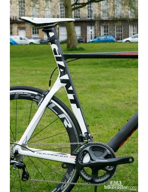 Clearance between the rear wheel and seat tube is minimal. The integrated seat post also saves on weight, and is claimed to have a forgiving feel