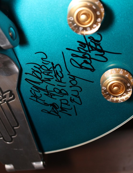 Grateful Dead guitariest Bob Weir signed this Ibanez guitar for Marin