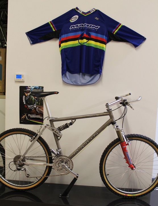 What today would pass as a light-duty cross-country bike was a burly downhill bike in the early '90s. This one is titanium
