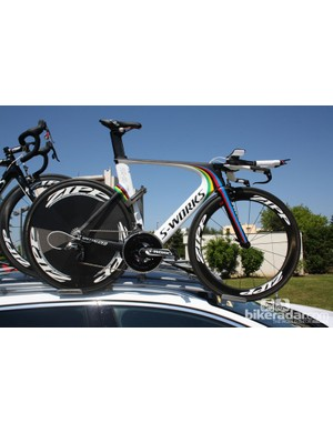 Tony Martin's (Omega Pharma-Quickstep) following car carries the spare TT World Champion's Specialized Shiv