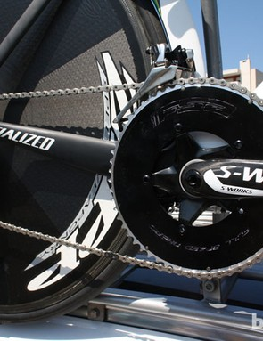 Mechanics had made a half-hearted attempt to black out the Full Speed Ahead graphics on Martin's 54T chain ring