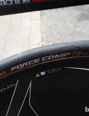 Tyres appear to be getting wider: Marco Pinotti (BMC) was running 24mm Continental Force
