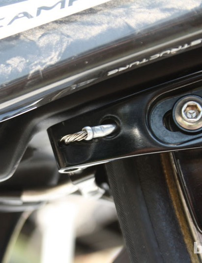 A tight touch on Thomas Voeckler's (Europcar's) TT cabling on the chainstay mounted brake