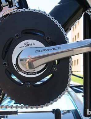 Chris Froome (Sky) is a dedicated O-symetric user and had the ovalised rings fitted to the spare Graal