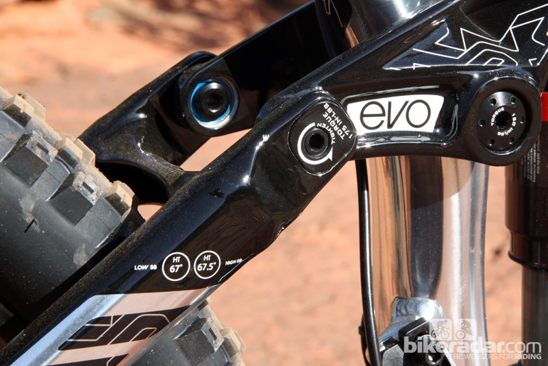 Flippable chips where the seat stays are joined to the rocker link allow you to fine-tune the geometry. Ignore the markings on the seat stay, though, as they're currently incorrect. The actual head tube angles are 67.5 and 68.3 degrees