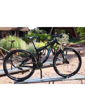 The Trek Remedy 8 29 features the same suspension technology and aluminum frame as the top-end 9 but with a Shimano SLX/Deore XT mix