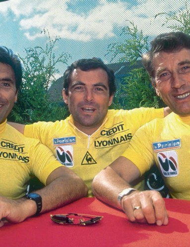 Tour de France 100 looks back at former champions like (l to r) Eddy Merckx, Bernard Hinault and Jacques Anquetil