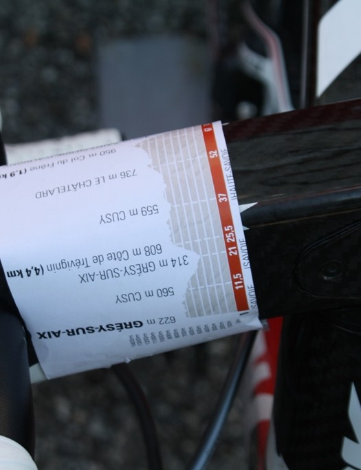 Prompts to remind riders of the day's obstacles featured on many riders' stems – this version looks cut out Luis Ángel Maté's (Cofidis) road book and gives plenty of detail
