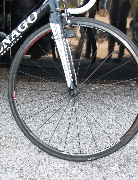 Most teams slung out the high profile wheels. The bike of Europcar's Thomas Voeckler rolled on Campagnolo Ultra Hyperon 2 wheels