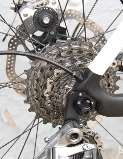 The derailleur line is routed through the drive-side chainstay