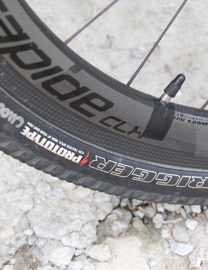 Rusch's tires were marked 'prototype.' According to Rusch, they have an additonal layer of flat protection