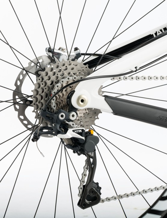 Shimano's direct mount rear derailleur makes for convenient removal of the rear wheel