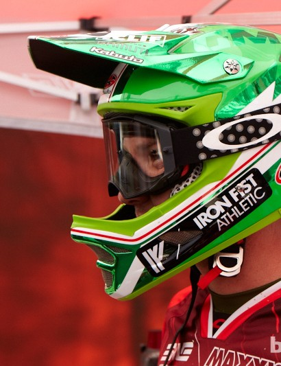 Greg Minnaar, the current World Champion, was sporting this new custom Kabuto lid today throughout practice. Greg took a big tumble quite early on today but seemed ok when we caught up with him. During timed training Greg looked pinned, but just like his Syndicate team mates, didn't push for a top time this afternoon.