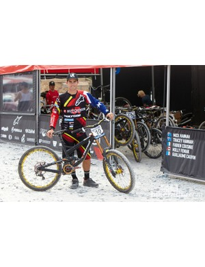 The switch to Indonesian bike brand Polygon obviously hasn't fazed Mick who posted the quickest time in timed training aboard his Collosus DHX bike which he says they've just altered the head angle slightly to make it even quicker. We'd love to see Mick back on the podium and can't wait to see what he can do on Sunday!