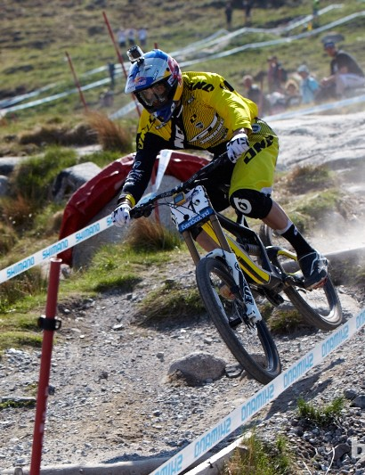 Gee Atherton's qualifying run was only 0.176 seconds behind Danny Hart today. Gee is hungrier than ever for a win.