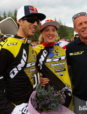 That's one proud dad. Simon Atherton with Gee and Rachael after they'd done the family double here at the opening round of the World Cup.