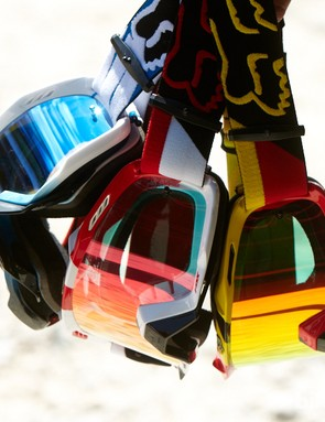Fox AIRspc goggles were on show at the Fox booth. The AIRspc goggles feature better venting to prevent fogging, 20 percent larger volume, as well as sitting further away from your face to help avoid sweat getting on the lens. Most significantly though, the AIRspc's are no longer produced by Oakley and now feature a high quality Carl Zeiss Spark lens.