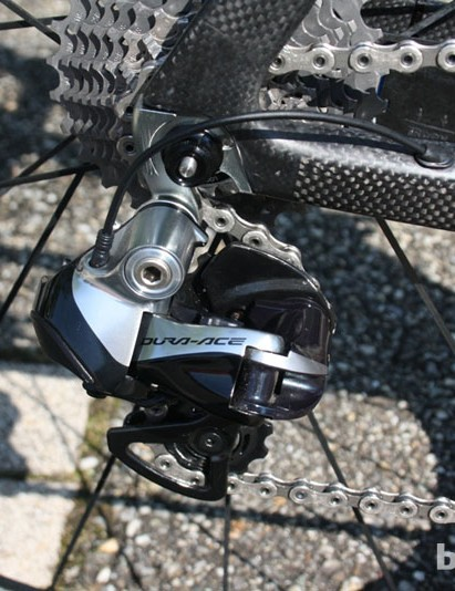 Naturally, Sanchez's bike is equipped with new Shimano Dura-Ace 9070 Di2 11-spd shifting