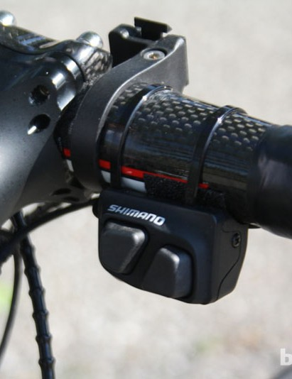 Sanchez had the Shimano Dura-Ace 9070 remote climbing switch fitted on the right hand side of the stem – useful when riding on the tops