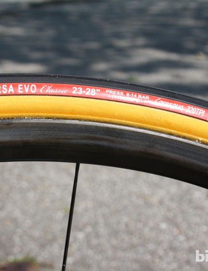 Vittoria Corsa Evo SC cotton tubulars are fitted to the Dura-Ace wheels