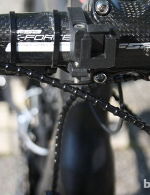 In another deviation from the team issue kit, Sanchez gets Alligator i-Link brake cabling
