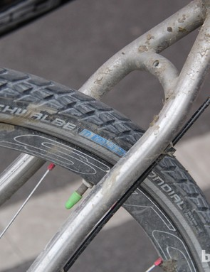 Schwalbe's 700x35 Mondial tire is no lightweight, but thin tires rarely survive the Flint Hills