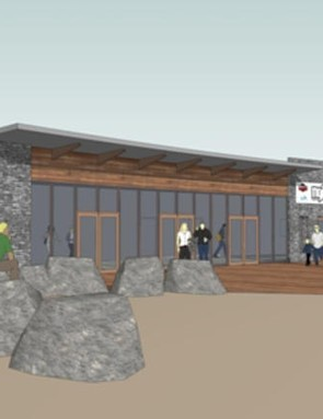 An architect's impression of the visitor centre at BikePark Wales