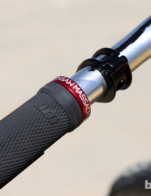 Custom etched lock-on grip collars for Steve Smith (Devinci Global Racing)