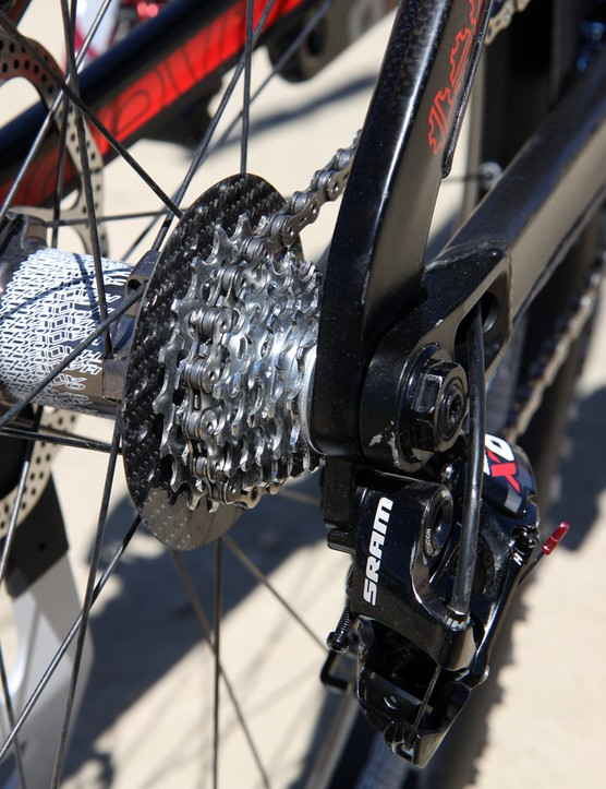 Out back is a truncated SRAM PG-1070 cassette with just eight cogs and a tight 11-19T spread. The carbon fiber spoke guard is a nice touch, too