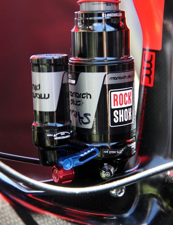 RockShox provides custom valving for Steve Smith's (Devinci Global Racing) Monarch Plus rear shock