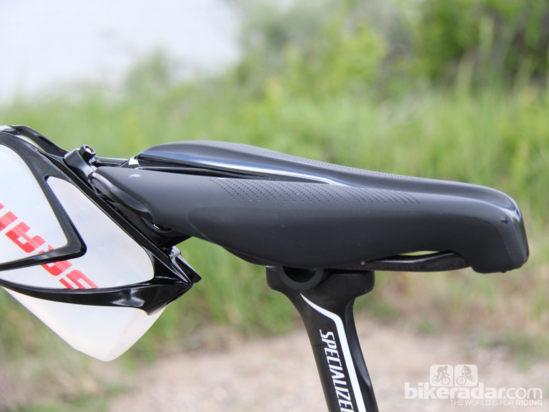 The snub-nosed Specialized Sitero Pro allows for an aggressive position with plenty of sit-bone support. The bottle cage is removable, and a clip for racking the bike can be added instead