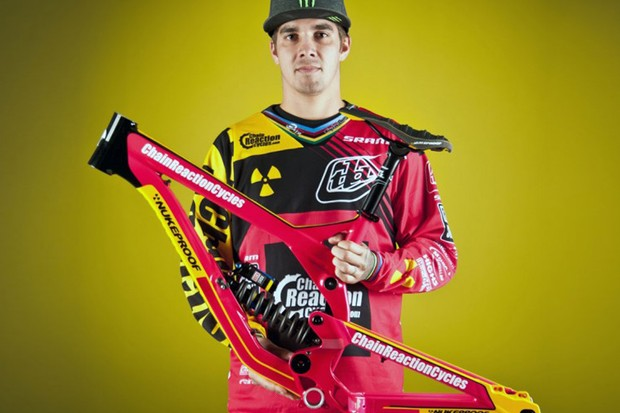 Hill's lairy-coloured Nukeproof Scalp and matching Troy Lee kit will be up for grabs on eBay from Thursday 13 June