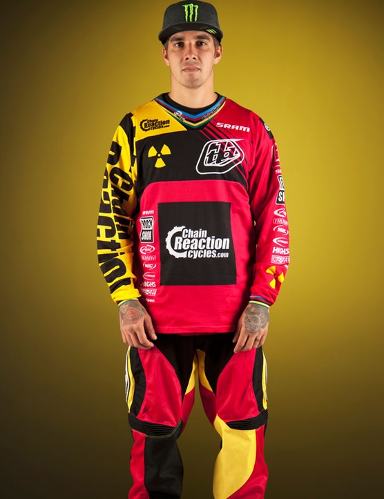 Sam Hill pink charity Troy Lee kit, front