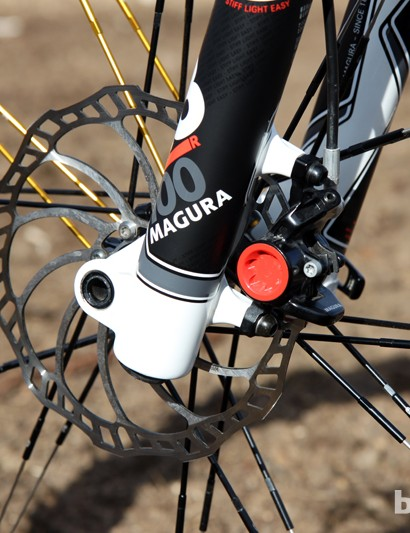 Magura's 27.5in forks use post-mount tabs sized for 180mm rotors