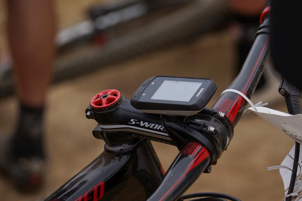 The Tate Labs Bar Fly MTB mount puts the Garmin above the stem
