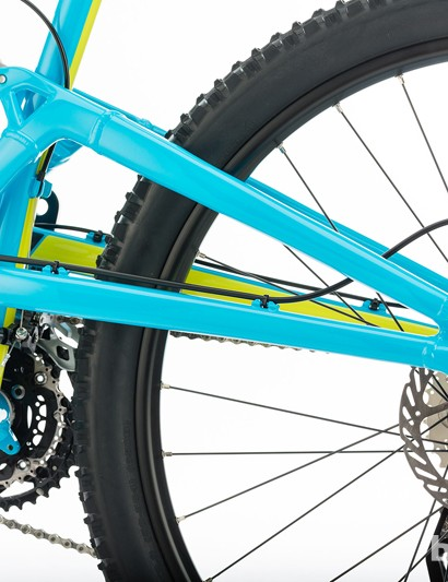 The Heckler's rear swingarm and elevated chainstays