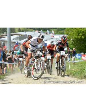 Nino Schurter (Scott Swisspower MTB Racing Team) charges off the front during the elite men's cross-country race