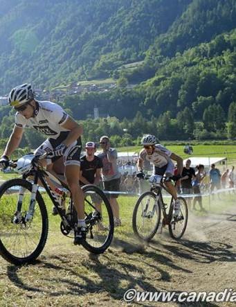 Daniel Federspiel (Ötztal Scott Racing Team) leading on the climb in the elite men's eliminator race