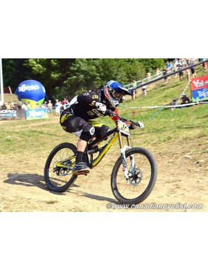 Gee Atherton (GT Factory Racing) took a second straight World Cup win in the elite men's DH race