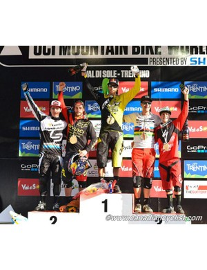 Elite men's DH podium (L-R): Loic Bruni, Steve Smith, Gee Atherton, Greg Minaar, Troy Brosnan