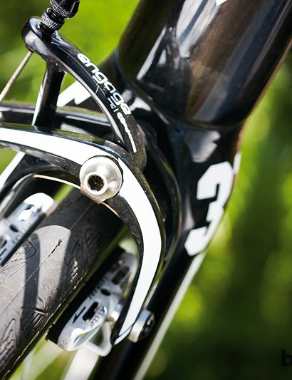 Engage's carbon brakes offer power and control, but the pads wear quickly