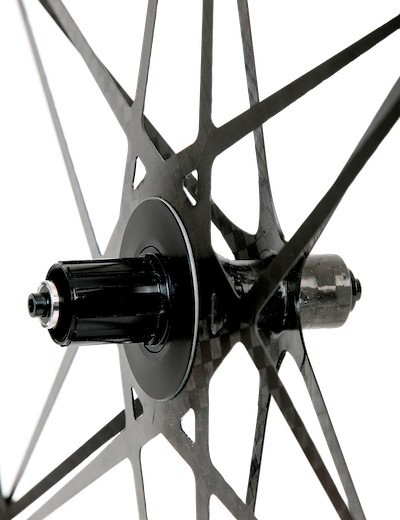The rear wheel's lacing pattern (more molding than lacing, really) is said to improve stiffness by 15 percent