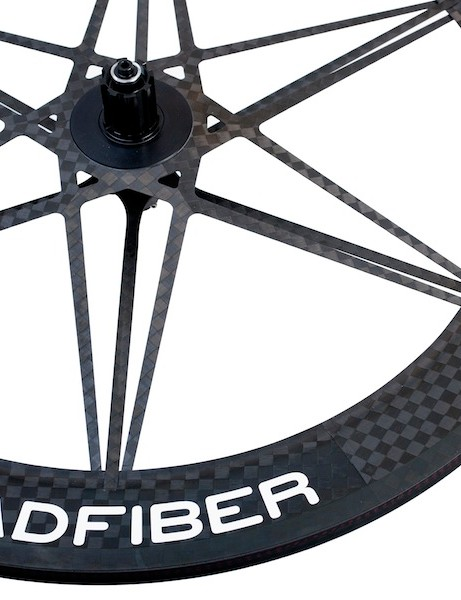Mad Fiber's Road.2 wheelset is 11-speed compatible and has a new lacing pattern, which the company claims increases lateral and vertical stiffness by 15 percent