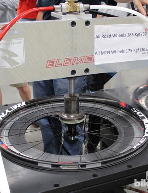 Each Reynolds wheel is tested with a heavy sideload of 185kg (408lb) for road and 175kg (386lb) for MTB